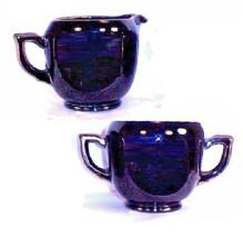 Creamer Sugar Set Black Glass  Heavy Jutting Handle Kitchen - $24.99