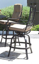 "Outdoor bar set 7 piece cast aluminum furniture Grand Tuscany 60"" round table image 5"