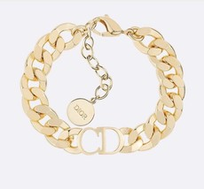 AUTH NEW Christian Dior 2019 DANSEUSE ETOILE CD LOGO CHAIN GOLD BRACELET