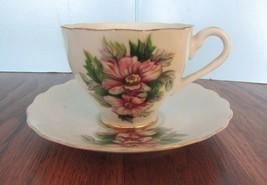 royal china flower Teacup/ Saucer Set Gold Trim - $13.37