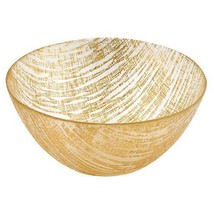 """TDG-221-4512822910857 8"""" Hand Crafted Glass Gold Accent Salad or Serving... - $53.37"""