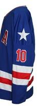 Custom Name # Team USA Retro Hockey Jersey New Blue Johnson #10 Any Size image 3