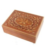 VINTAGE WALNUT REUGE SWISS MUSIC BOX INLAID WOOD ~ FREE FORM DESIGN PLAY... - $44.99