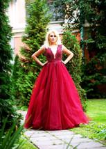 Burgundy bridesmaid dress, Long Tulle dress, Beaded wedding dress - $614.72