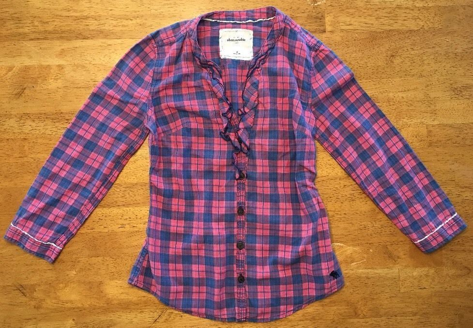 Abercrombie Kids Girl's Blue & Pink Plaid V-Neck Dress Shirt - Medium
