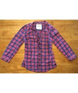 Abercrombie Kids Girl's Blue & Pink Plaid V-Neck Dress Shirt - Medium - $14.84