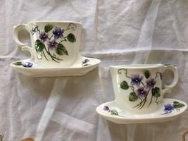 RARE Lefton #2894 Sweet Violet Vintage Wall Pocket Tea Cups - $84.15