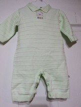Absorba Infant Baby Boys Velour One-piece Lined Outfit 0- 3M Green Blue - $15.99