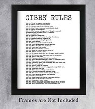 """""""Gibbs' Rules""""- Funny Office Sign - 11 x 14"""" Wall Decor Print-Ready to Frame. Hu"""