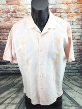 Cubavera mens large peach short sleeve linen shirt - $29.69