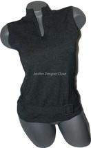 NEW OSCAR De La RENTA S sleeveless belted sweater zip neck black white career - $193.99