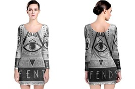 Illuminati- New- World- Order Women's Long Sleeve Bodycon Dress - $25.80+