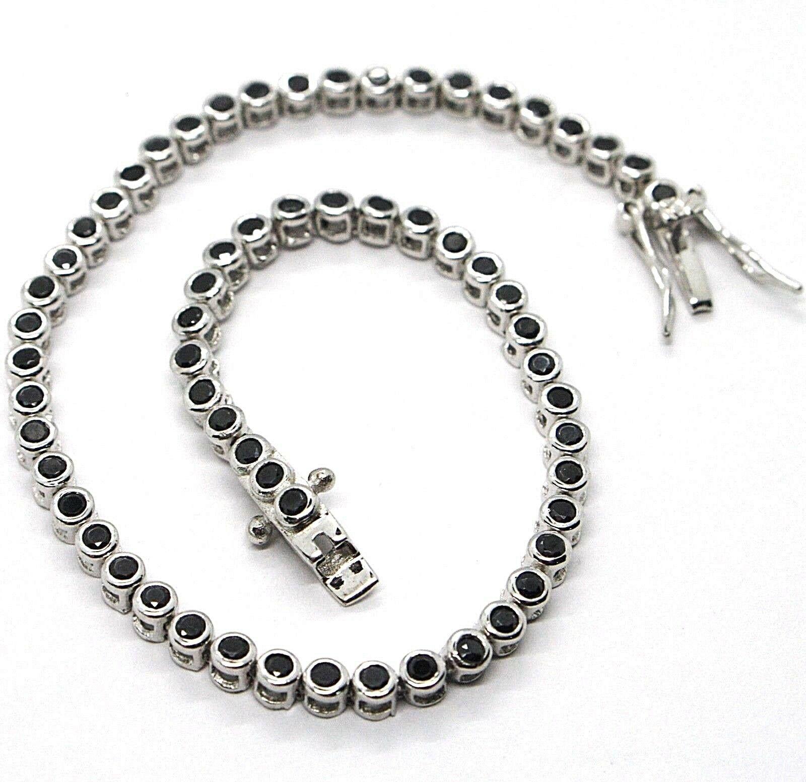 Tennis Bracelet, Silver 925, Zircon Cubic Black, Brilliant Cut, 3 MM image 2