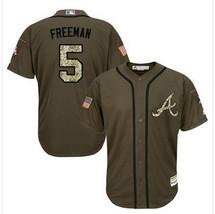 Men's Atlanta Braves 5 Freddie Freeman Green Cool Base Baseball Jersey - $40.50
