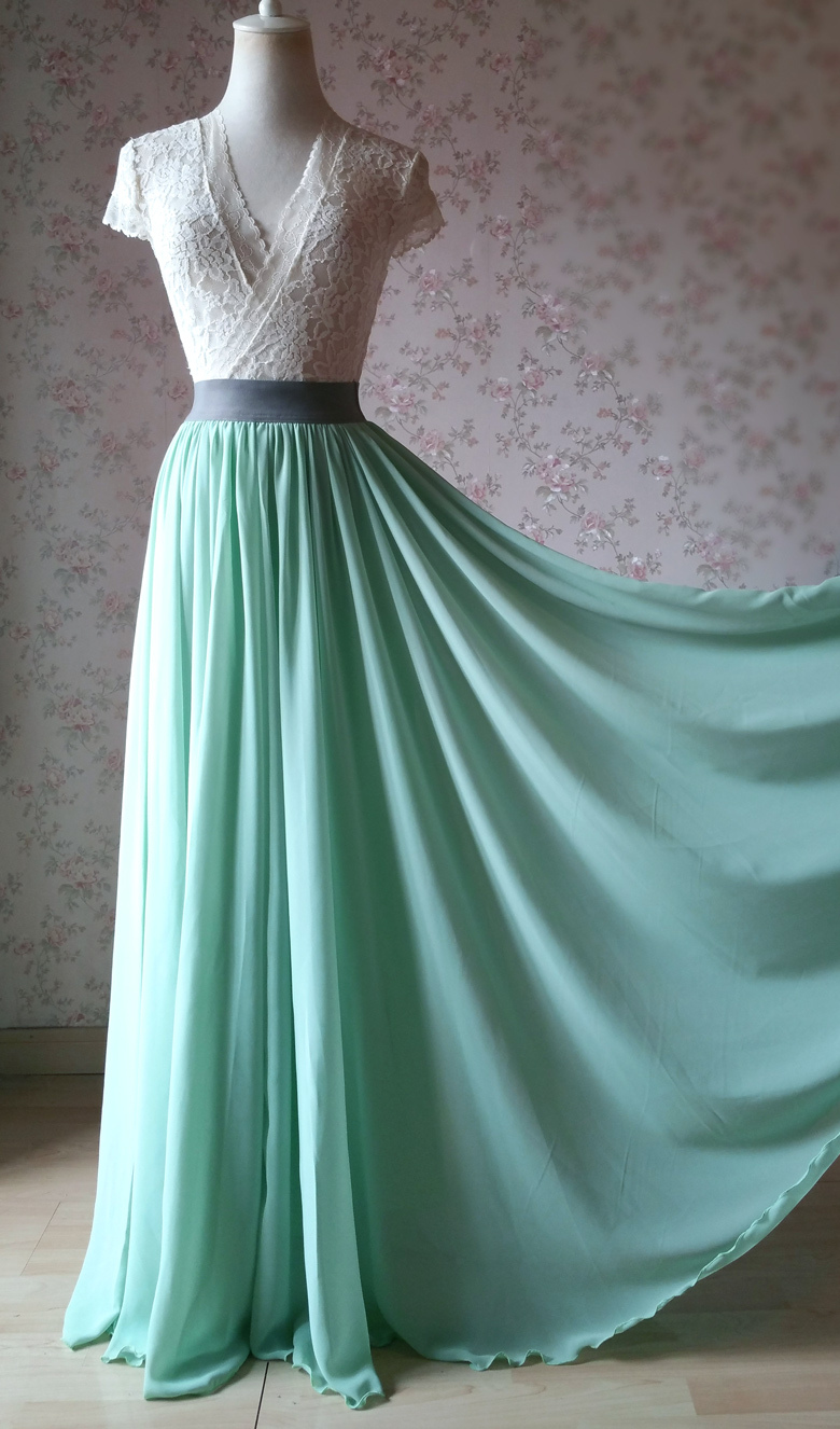 MINT GREEN Maxi Chiffon Skirts Mint Green Wedding Chiffon Skirt Plus Size