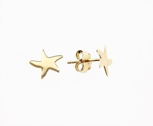 18K YELLOW GOLD EARRINGS WITH SHINY STAR STARFISH WORKED MADE IN ITALY 0.28 IN