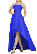 Women's Hi-low Strapless Satin Formal Prom Dresses Evening Dresses Party... - $92.55
