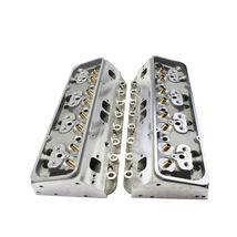 SBC Small Block Chevy GM Straight Plug Aluminum Cylinder Head Set 64cc 2.02/1.60 image 4
