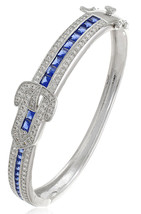 CZ by Kenneth Jay Lane Deco Sapphire Buckle Hinged Red Carpet Prom Brace... - $76.12