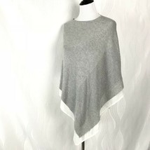 The Limited Poncho Cape Sweater Gray White Trim Knit Pullover Women Size... - $41.80