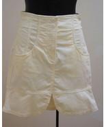 Armani Exchange Skirt 2 Ivory Corduroy Tulip Flare Hem Fitted Pockets XS... - $21.54