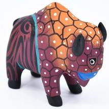 Handmade Alebrijes Oaxacan Wood Carving Painted Folk Art Buffalo Bison Figurine