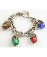 "8"" ESTATE VINTAGE Jewelry FOIL ART GLASS BEAD FOB CHARM DANGLE TOGGLE BR... - $125.00"