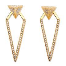 PalmBeach Jewelry .75 TCW CZ 14k Gold-Plated 2-in-1 Jacket Earrings - $19.49