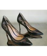 """GIANVITO ROSSI Black Leather """"Bonnie"""" Mesh Swirl Pumps - Size 37 - $449.99"""