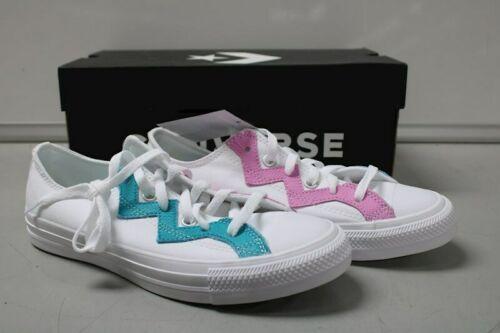 NIB NEW Women sz 8.5 Converse Shoe Sneaker White Teal Peony Box CTAS OX