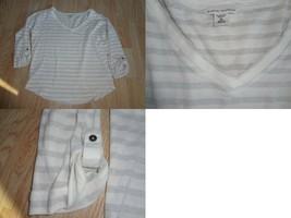 Women's Banana Republic M Light Sweater 3/4 Sleeve Metallic Silver V Nec... - $14.01