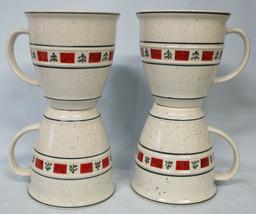 Country Crock Christmas Green Strip Christmas Tree Mug Set of 4 - $28.60