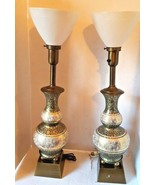 Mid Century Modern Torchiere Diffuser Table Lamp Pair Hand Painted Brass - $204.27