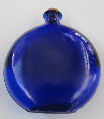 Cobalt Blue Oval Shaped Glass Bottle with Cork Stopper Italy