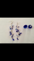 2 pair pierced earrings: blue glass button, & beaded blue dang - $29.99