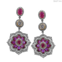 18k White Gold Pave Diamond Gemstone Ruby Dangle Fine Earrings NEW COLLECTION - $3,699.19