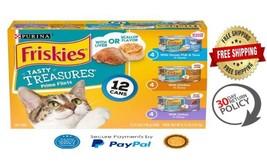 Purina Friskies Tasty Treasures Wet Cat Food (12) 5.5 oz. Cans Variety H... - $12.98