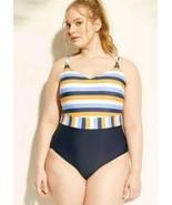 Kona Sol Womens Plus Strappy Back Striped One Piece Swimsuit  24W new - $19.80