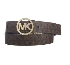 NEW MICHEAL KORS SIGNATURE MK LOGO WOMEN BROWN LEATHER REVERSIBLE BELT 5... - $36.26