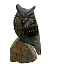 Stunning Vintage Dark Wood Hand Carved Owl Sculpture Statue Figure Figurine - $35.93
