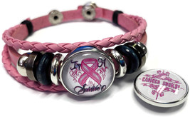 Breast Cancer Sucks Snaps On Pink Leather Bracelet W/2 Snap Jewelry Charms - $22.95