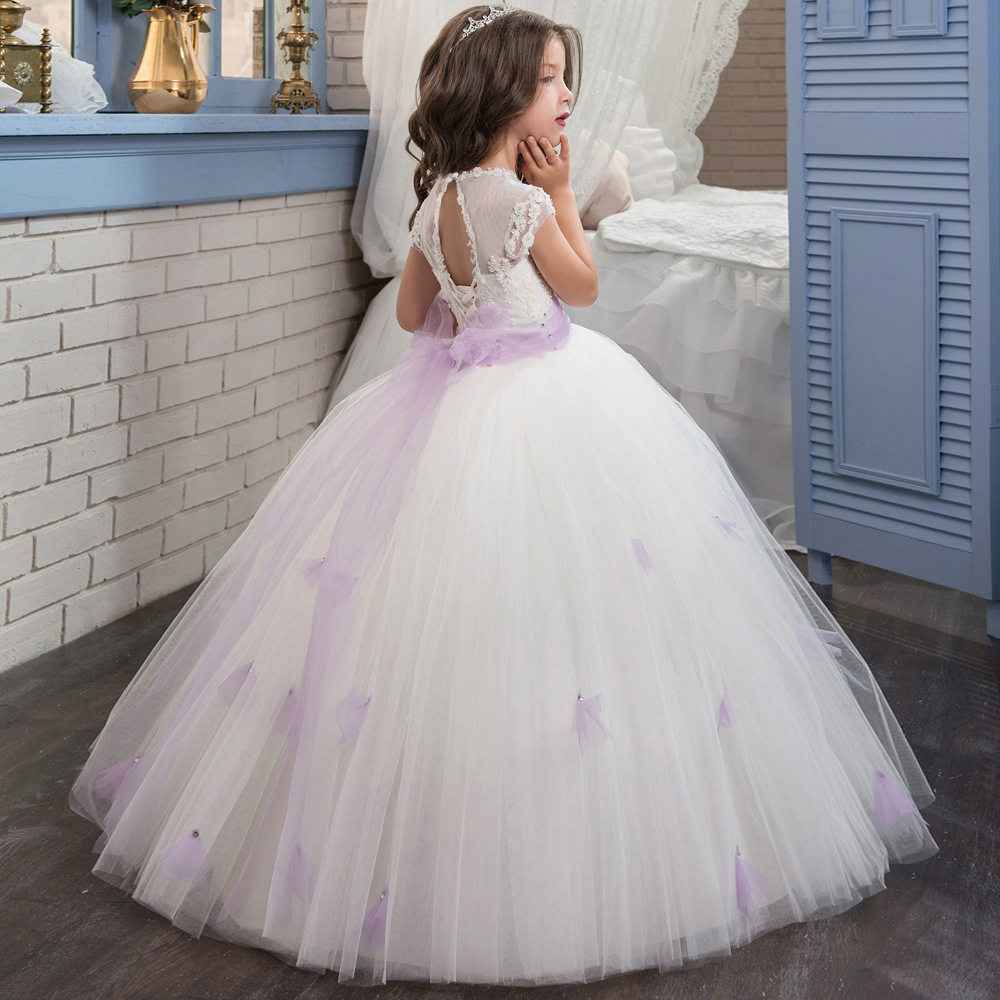 Cheap Sexy White Tulle Pricess Flower Girl Dress With Caped Sleeve  Prom Gowns