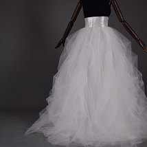 WHITE Detachable Tulle Skirt White Tulle Bridal Skirt High Waisted Wedding Skirt image 5