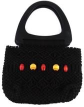 Macrame Vintage Purse Handbag Black w/ Beads Excellent Craftsmanship Han... - $13.71