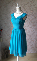 Teal Short Bridesmaid Dresses Prom Dress Teal Color Dresses Sleeveless XXXL NWT image 5