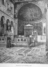 ROME Italy Basilica San Clemente Interior View - 1888 Original Engraving... - $21.60