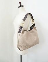 Auth SALVATORE FERRAGAMO Brown Gancini Canvas Shoulder Bag #34760 - $219.00