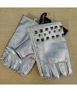 Sliver  Medium/Large   Designer Macy DKNY Studded Leather Fingerless Gl... - $27.00