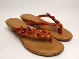 Nine West Size 7.5 M Red Slippers Slip On Floral Flipflop Thong Sandals ... - €20,54 EUR