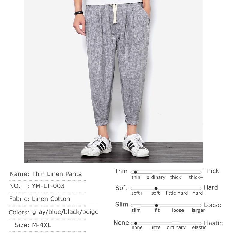 2018 New Summers Linen Pants Men Casual Ankle-Length Harem Pants Solid Linen Cot image 9